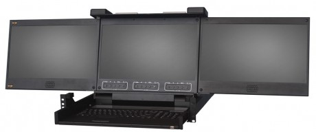 KVM 1701 W T3 triple LCD HD simple rail